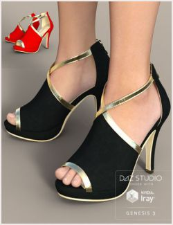 Black Gold Heels for Genesis 3 Female(s)