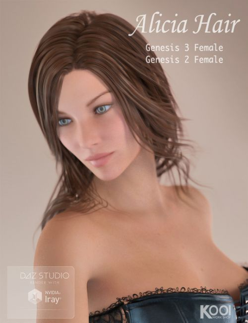 Alicia Hair for Genesis 2 and 3 Female(s)