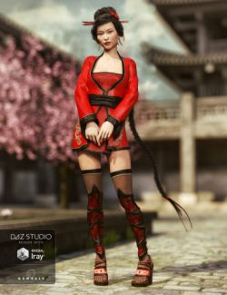 Red Lilies Outfit for Genesis 3 Female(s)