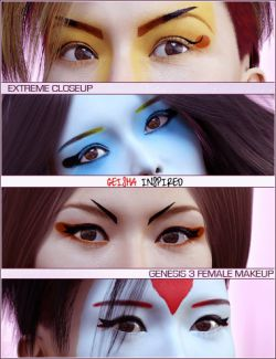 Extreme Closeup: Geisha Makeups for Genesis 3 Female(s)