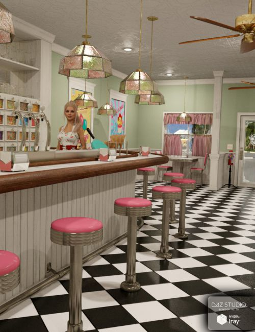 Miranda S Ice Cream Parlor 3d Models For Poser And Daz