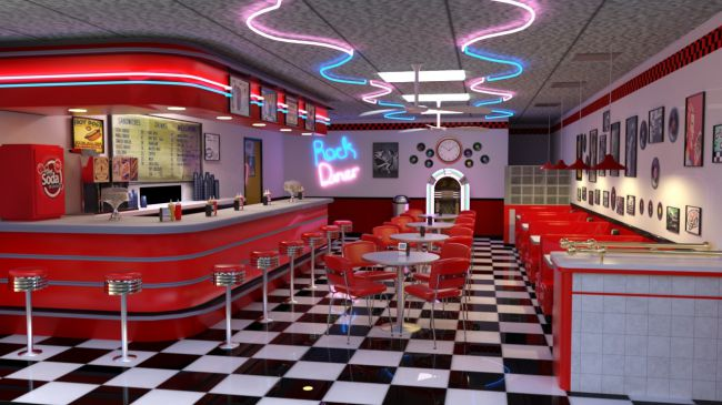 50 S Diner 3d Models For Poser And Daz Studio