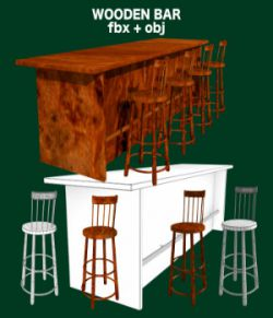 Bar and Stool fbx and obj