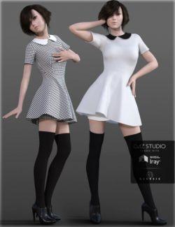 H&C Peter Pan Collar Dress for Genesis 3 Female(s)
