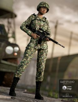 Army Uniform for Genesis 3 Female(s) and Genesis 2 Female(s)