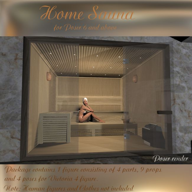 aj home sauna architecture for poser and daz studio. Black Bedroom Furniture Sets. Home Design Ideas