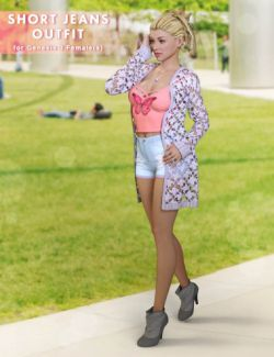 Shorts Jeans Outfit for Genesis 3 Female(s)
