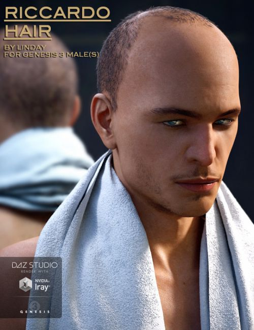 Riccardo Hair for Genesis 3 Male(s)