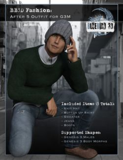 BB3D Fashions: After 5 for Genesis 3 Male(s)