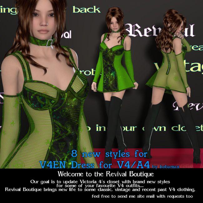 Revival for V4EN Dress   Clothing for Poser and Daz Studio