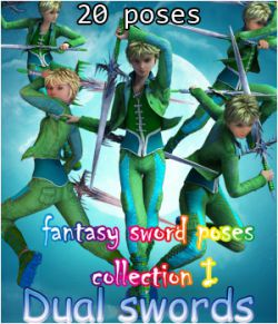 fantasy sword poses collection I _ Dual swords_ for G2