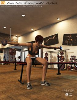 Exercise Room with Poses for Michael 7 and Victoria 7