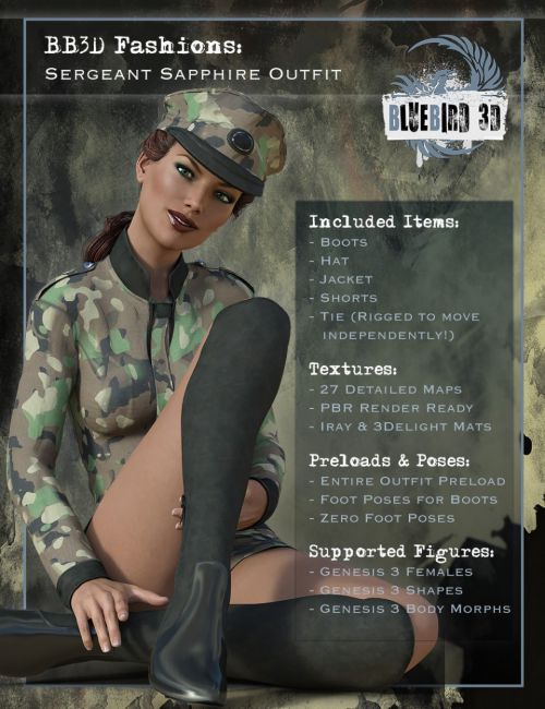 BB3D Fashions: Sergeant Sapphire for Genesis 3 Female(s