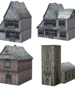 Low Polygon Medieval Buildings 4 (for DAZ Studio)