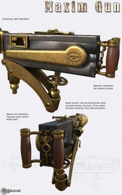 Maxim Gun Props For Poser And Daz Studio