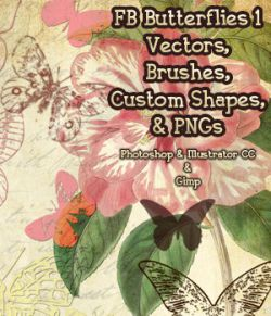 FB Butterflies 1 Set of Brushes, Shapes, Vectors, PNGs- Merchant Resource