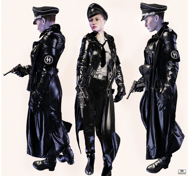 german ss black uniform v4 clothing for poser and daz studio