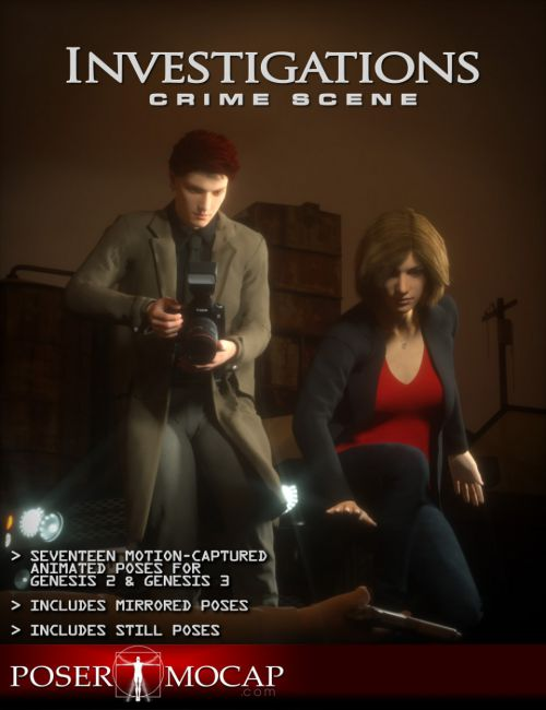 Crime Scene Investigation Animations and Aniblocks for Genesis 2 and 3