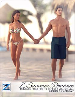 Z Summer Romance- Poses for Genesis 3 Male & Female/Michael 7 & Victoria 7