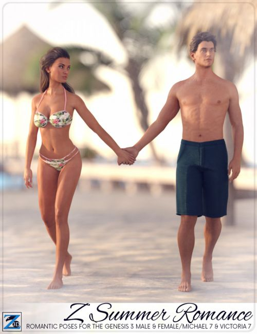 Z Summer Romance - Poses for Genesis 3 Male & Female/Michael 7 & Victoria 7