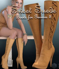 Sweet Suede Boots for Genesis 3 Female