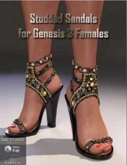 Studded Sandals for Genesis 3 Female(s)