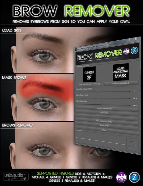 Brow Remover for Daz Studio