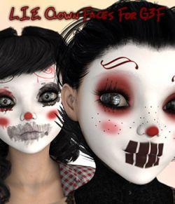 L.I.E. Clown Faces For Genesis 3 Female