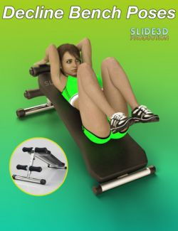 Slide3D Sport Poses with Decline Bench for Genesis 3 Female(s)