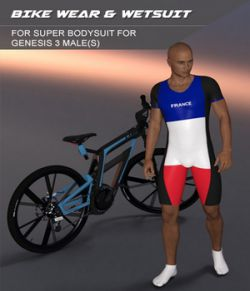 Bikewear and Wetsuit for Super Bodysuit for Genesis 3 Male
