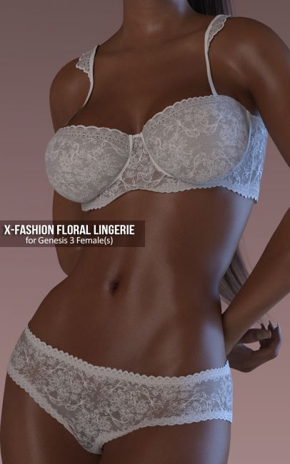 Fashion Floral Lingerie for Genesis 3 Female(s)