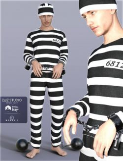 H&C Prisoner Clothing and Shackles for Genesis 3 Male(s)
