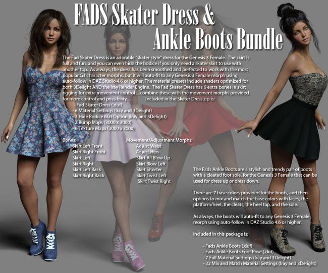 Fads Skater Dress & Ankle Boots Bundle