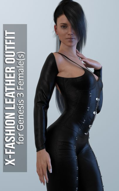 Fashion Leather Outfit for Genesis 3 Females