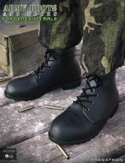 Army Boots and Socks for Genesis 3 Male(s)