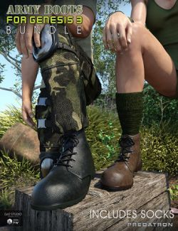 Army Boots and Socks Bundle for Genesis 3