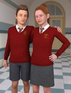 Time For School Sweater Uniforms for Genesis 3 Female(s) and Male(s)