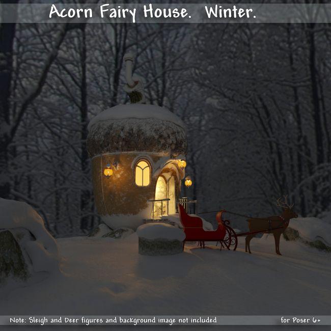 AJ Acorn Fairy House. Winter.