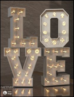 Alphabet and Number Props with Lights for Iray