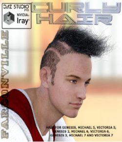 CURLY HAIR FOR GENESIS, M5, V5, G2F, V6, G2M, M6, G3F, V7, G3M, M7