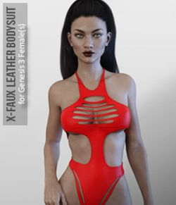 X-Faux Leather Bodysuit for Genesis 3 Female(s)