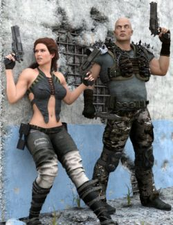Revolver, Knife and Pose Set for Genesis 3 Male and Female
