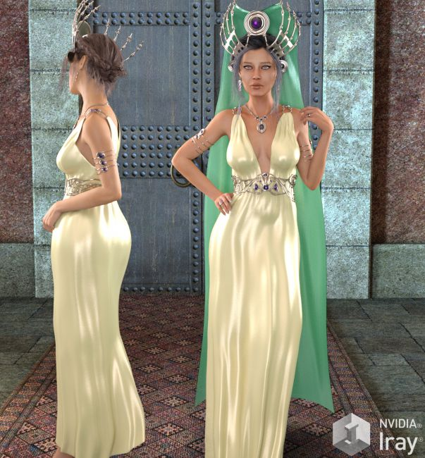 HEROINE - Drusilla Dress,Headdress and Jewels for Genesis 3 Female