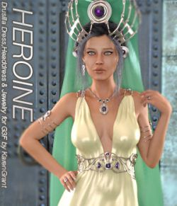 HEROINE- Drusilla Dress,Headdress and Jewels for Genesis 3 Female
