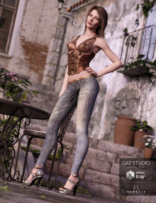 Skinny Jeans and Corset Outfit for Genesis 3 Female(s)