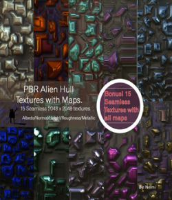15 Seamless Alien Hull PBR Textures and Texture Maps