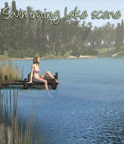 Swimming lake scene