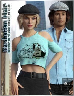 Manhattan Hair and Newsboy Cap for Genesis 3 Female(s) and Male(s)