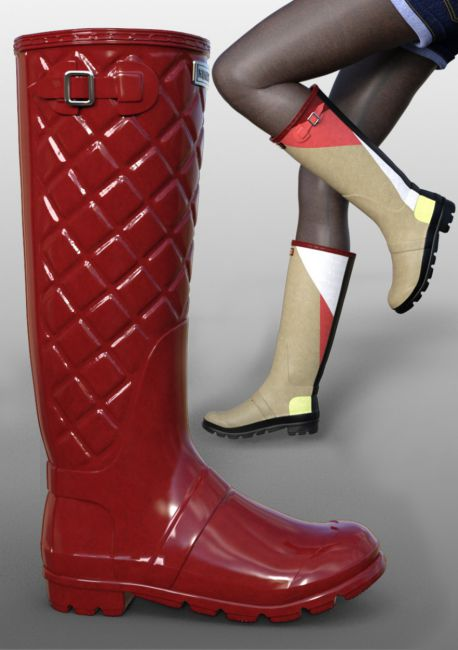 Rain Boots for Genesis 2, 3 and 8 Female(s)