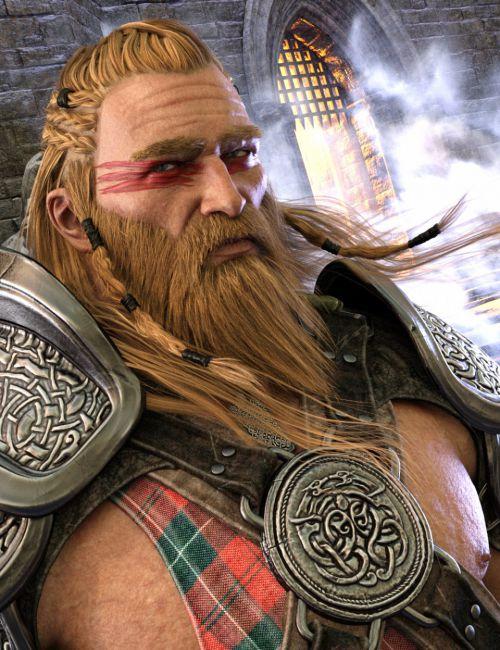 Dragonsbane Barbarian Hair and Beard for Genesis 3 Male(s)